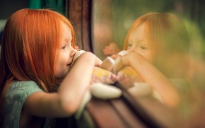 Picture joy, reflection, toy, window, girl