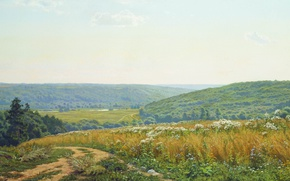 Picture oil, Canvas, Russian nature, Andrey GERASIMOV, Fields and forests in the vicinity of alexina