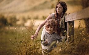 Picture grass, summer, meadow, sister Alyonushka and brother Ivanushka, derevenskie children, village, sister, braids, nature, girl, …
