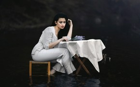 Picture water, girl, table, chair