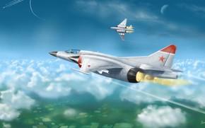 Picture The sky, The plane, Interceptor, MiG, Fantasy