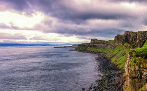 Picture water, open, the ocean, rocks, England, hdr, Bay, widescreen, grass nature
