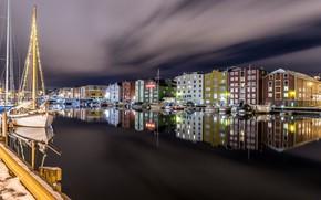 Wallpaper lights, night, Trondheim, Norway, Trondheim
