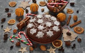 Picture sticks, pie, citrus, nuts, cinnamon, Christmas, cake, decor, caramel, celebration, holiday, Mandarin
