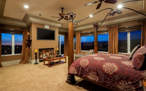 Picture Windows, bed, fireplace, bedroom