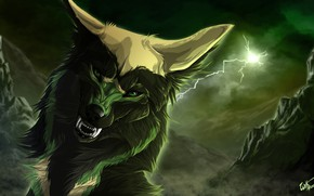 Picture background, lightning, wolf, roar