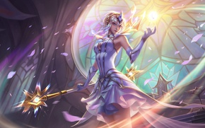 Wallpaper League of Legends, staff, fantasy, petals, sorceress, white dress, Elementalist Lux, by Jean Go, MAG, ...