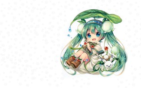 Picture girl, flowers, snowflakes, spring, anime, art, Chibi, Bunny, Vocaloid, Lily of the valley, Miku, Spring …