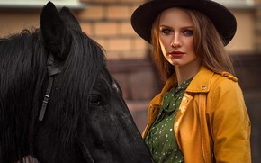 Picture look, face, girl, horse, horse, hat, Annie Of Antikov