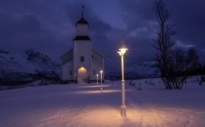 Picture winter, snow, night, lights, Norway, Church, lantern, Iimaa