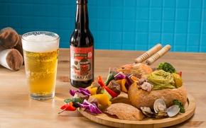 Picture beer, meat, vegetables, kebab