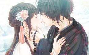 Picture girl, romance, anime, pair, guy