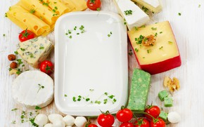 Picture cheese, plate, tomatoes