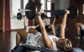 Picture metal, pose, female, fitness, Weight training