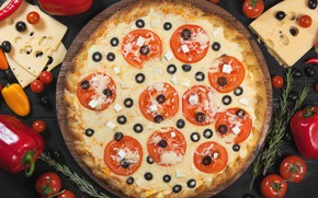 Picture cheese, pepper, vegetables, pizza, tomatoes, olives