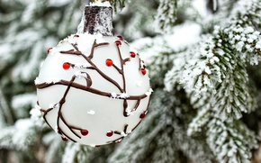 Wallpaper branches, ball, new year, tree, winter, holiday, snow, spruce, toy
