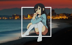 Picture girl, sunset, reverie, shore, anime, madskillz, madskillz