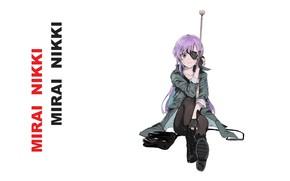 Picture shoes, rifle, art, shooter, purple hair, eye patch, Mirai Nikki, Uryuu Minene, Future Diary, Nesume