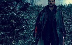 Picture winter, forest, snow, trees, snowflakes, costume, actor, coat, Jamie Dornan, Jamie Dornan, Norman Jean Roy, …