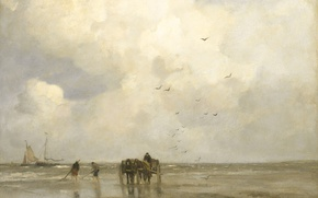 Picture sea, shore, oil, picture, canvas, Jacob Maris Hendrikus, Fishing