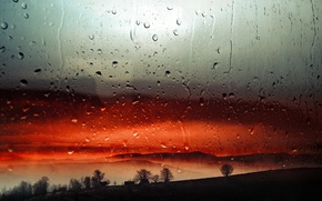 Wallpaper drops, sunset, rain, the evening, window