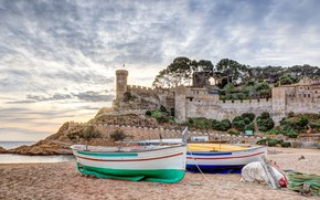 Picture wall, boat, tower, Spain, Tossa de Mar