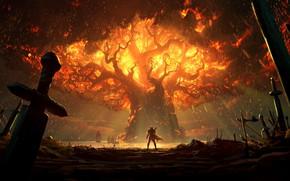 Picture fire, battlefield, sword, World of Warcraft, fantasy, game, Warcraft, Teldrassil, trees, landscape, battle, weapons, elf, …