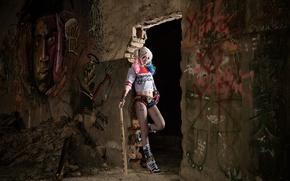 Picture style, background, graffiti, the ruins, Asian, baseball bat