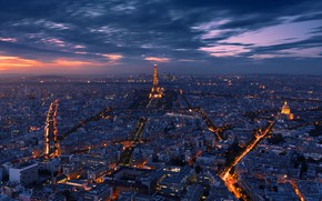 Picture light, night, the city, lights, France, Paris, the evening