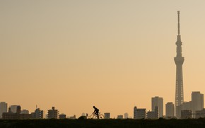 Picture the city, morning, cyclist, Tokyo, Higashiyotsugi 3-Chome