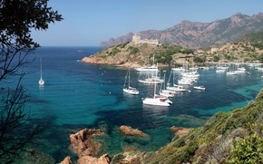 Picture sea, Bay, yachts, Corsica