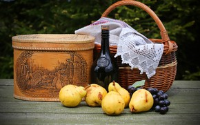 Picture grapes, basket, tablecloth, pear, greens, bokeh, wine, garden, table, bottle