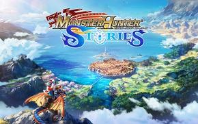 Picture anime, lake, island, boy, village, dragon, valley, asian, hunter, japanese, oriental, Monster Hunter Stories, Monster …