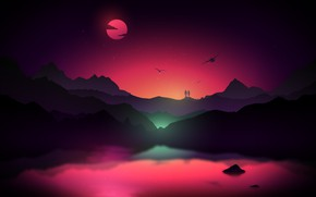 Wallpaper mountains, purple, glow, pink, moon, birds, water, emerald, mans, yellow, stars, stars, people, pink, purple, ...