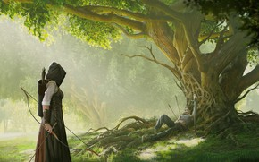 Wallpaper tree, man, sword, fantasy, Man down