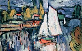 Picture landscape, boat, picture, sail, Maurice de Vlaminck, Maurice de Vlaminck, View Of The Seine