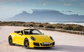 Picture Yellow, 911, Porsche, Convertible, Carrera, Cars, GTS, Cabriolet, (991), 2017, Metallic, Worldwide