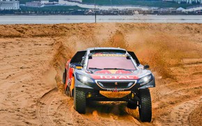 Picture Sand, 2008, Sport, Speed, Race, Dirt, Peugeot, Lights, Red Bull, Rally, Rally, Sport, DKR, Silk …