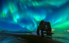 Picture beach, the sky, stars, night, rock, Northern lights, arch