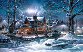 Wallpaper winter, machine, snow, trees, holiday, the moon, street, tree, home, Terry Redlin