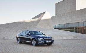 Picture the building, BMW, Parking, architecture, sedan, xDrive, 530d, Luxury Line, 5, dark blue, four-door, 2017, …