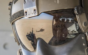 Wallpaper helmet, helicopter, glass, reflection, helmet