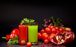 Picture red, juice, grapes, green, glasses, black background, tomatoes, tomatoes, garnet