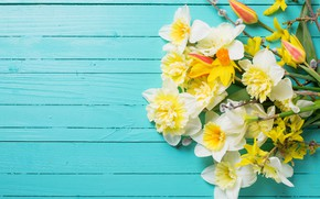 Picture flowers, bouquet, tulips, wood, flowers, tulips, daffodils, spring