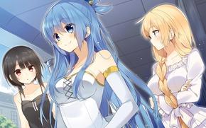 Picture girls, warrior, MAG, anime, Aqua, art, goddess, Megumin, kono subarashii sek'ai is shukufuku wo, Lalatina …