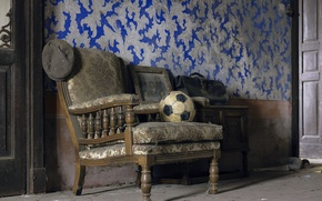 Picture the ball, chair, cap