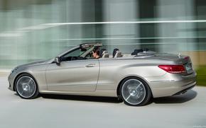 Picture road, speed, silver, Mercedec-Benz, E350