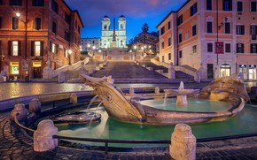 Picture night, lights, Rome, Italy, The Spanish steps, the fountain of the old boat