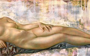 Picture chest, woman, blonde, Venus, Figurative painting, Normunds Braslins