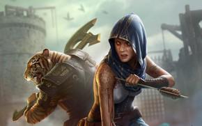 Picture girl, tiger, fiction, warrior, art, hood, arrow, axe